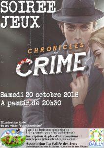 Soirée Jeux : Chronicles of Crime @ Ludothèque La vallée des jeux