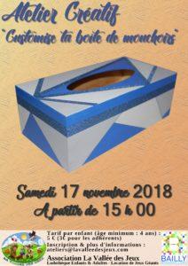 Atelier créatif : boîte à mouchoirs décorée @ Ludothèque La vallée des jeux