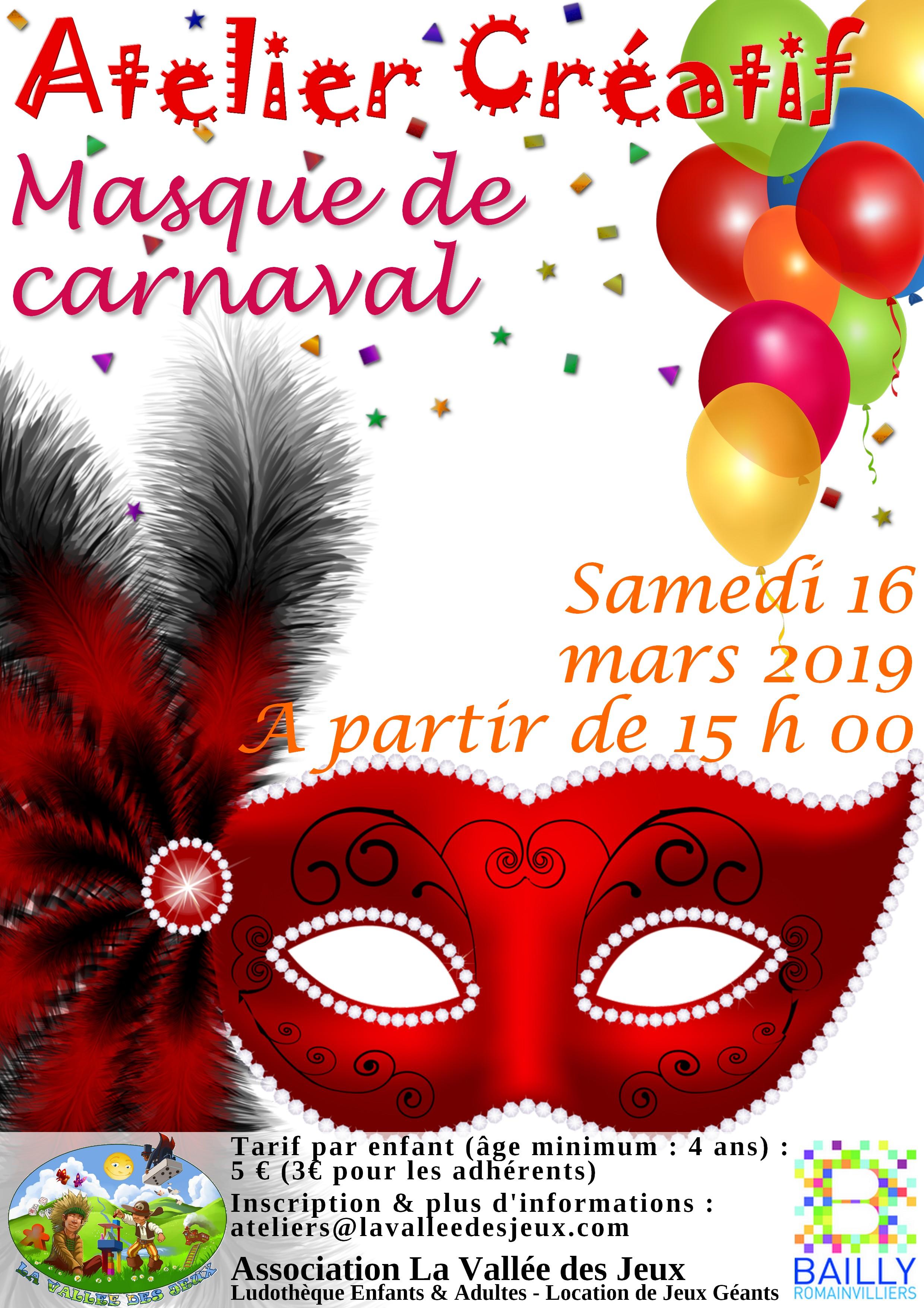 Atelier créatif : Carnaval @ Ludothèque La vallée des jeux