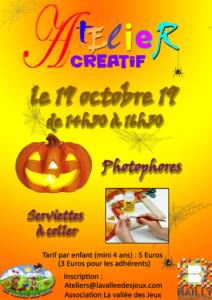 Atelier créatif : Halloween @ Ludothèque La vallée des jeux