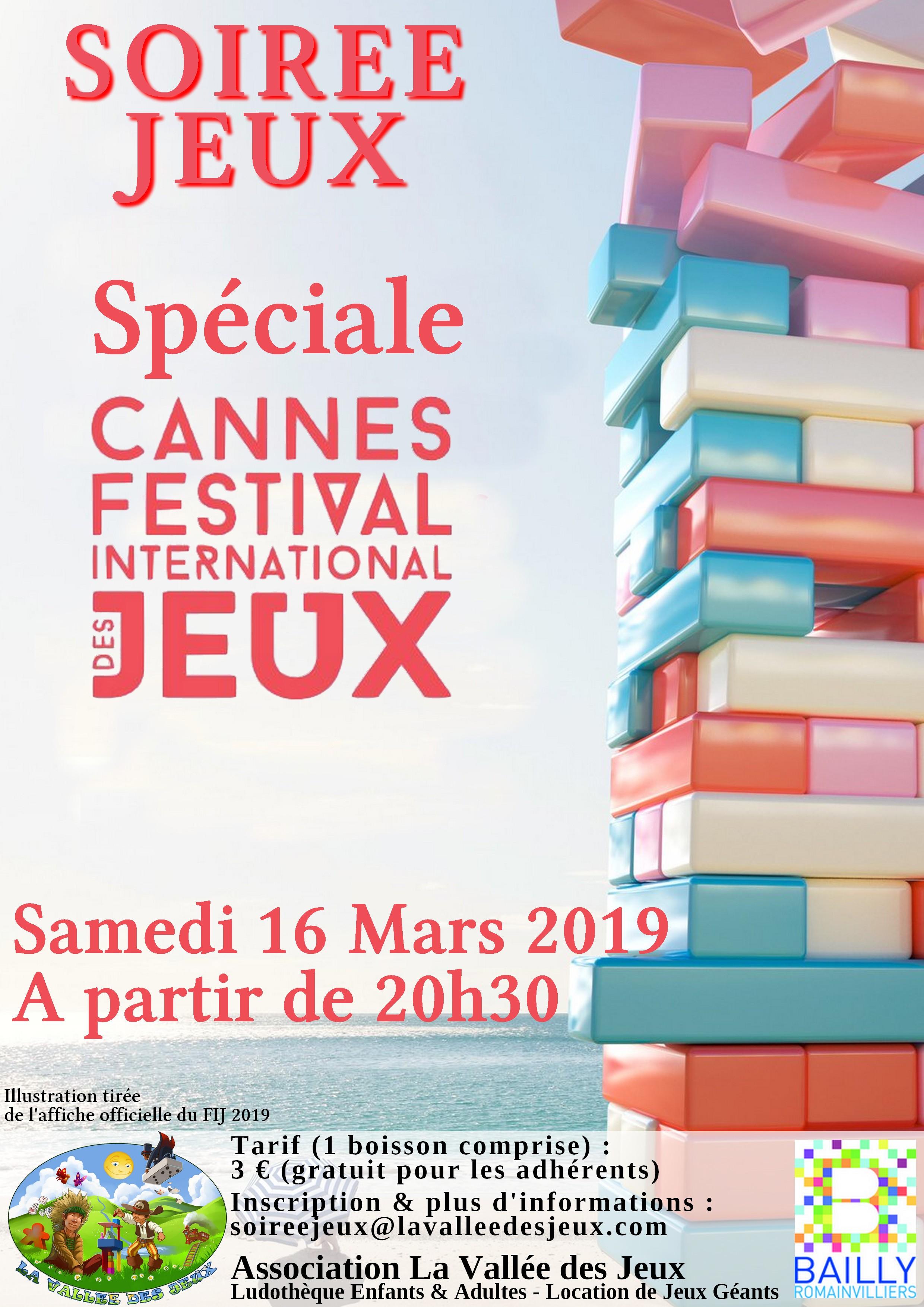 Soirée Jeux : Cannes 2019 @ Ludothèque La vallée des jeux