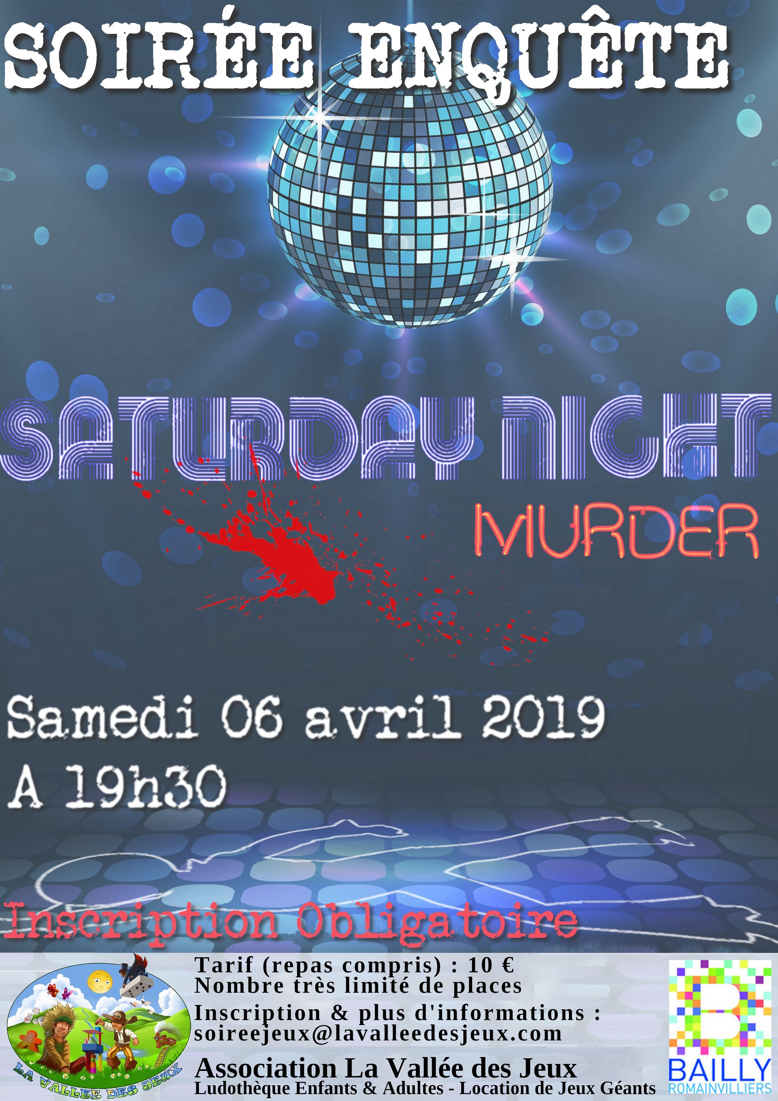 Soirée enquête : Saturday Night Murder @ Ludothèque La vallée des jeux